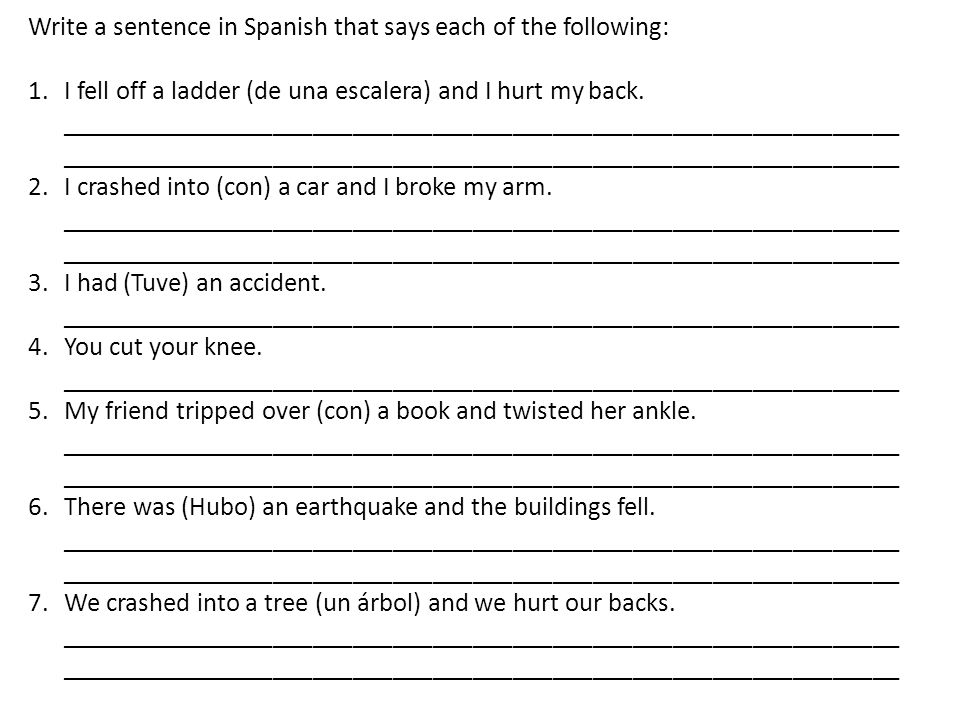 Write a sentence in Spanish that says each of the following: