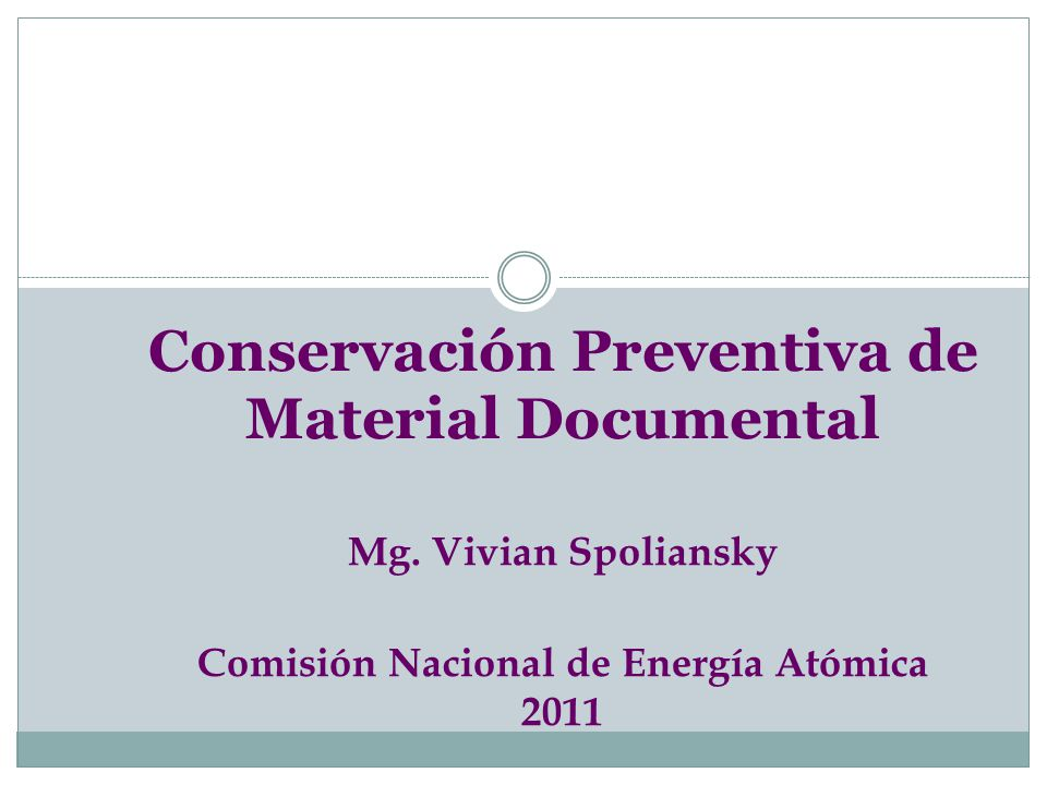 Conservación Preventiva de Material Documental Mg