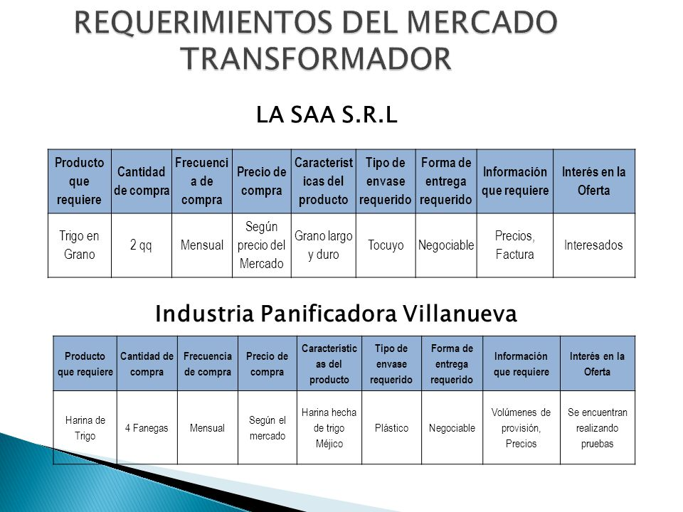 REQUERIMIENTOS DEL MERCADO TRANSFORMADOR