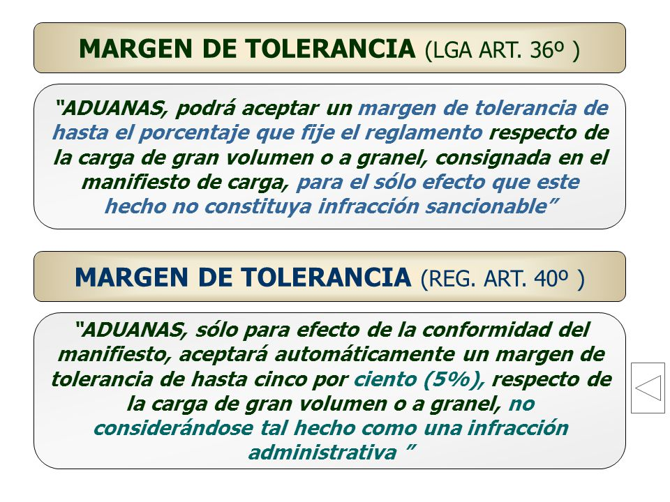 MARGEN DE TOLERANCIA (LGA ART. 36º )