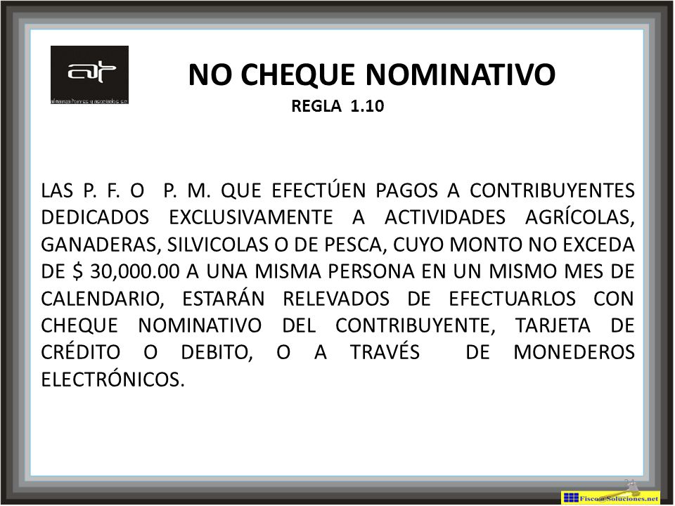 NO CHEQUE NOMINATIVO REGLA 1.10