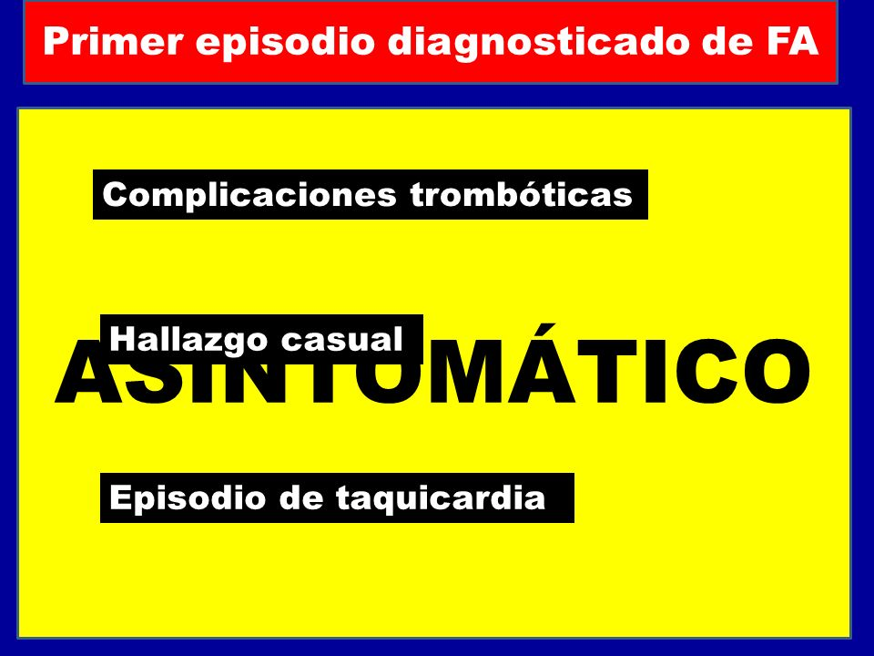Primer episodio diagnosticado de FA