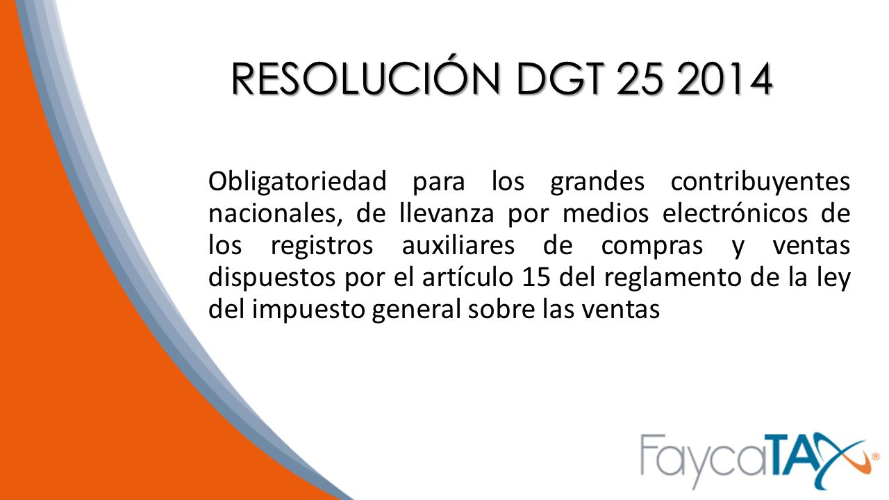 RESOLUCIÓN DGT 25 2014