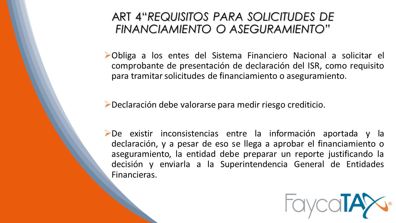 ART 4 REQUISITOS PARA SOLICITUDES DE FINANCIAMIENTO O ASEGURAMIENTO