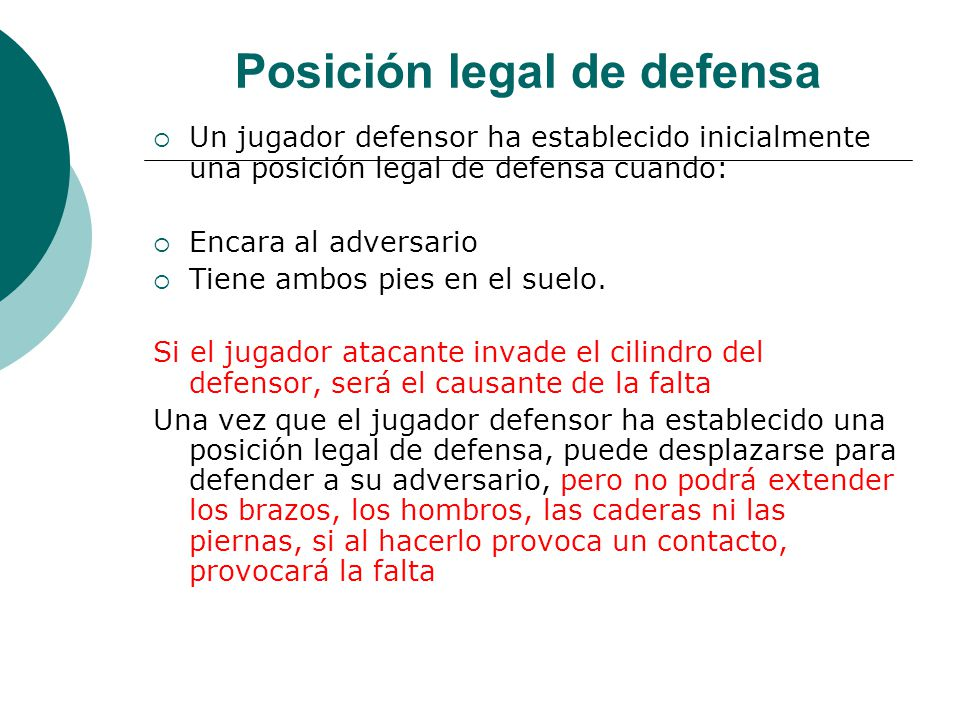 Posición legal de defensa