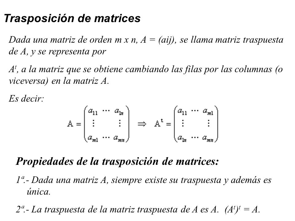 Trasposición de matrices