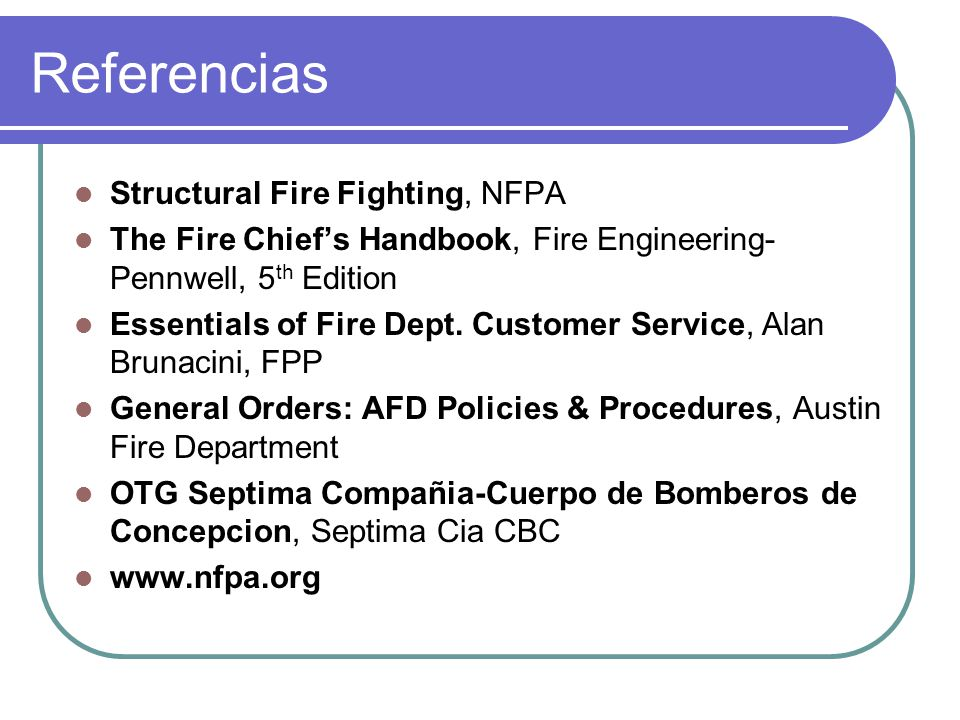 Referencias Structural Fire Fighting, NFPA