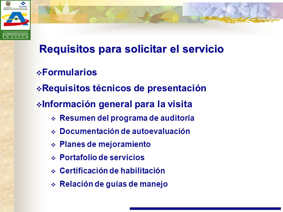 Requisitos para solicitar el servicio