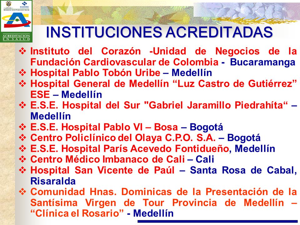 INSTITUCIONES ACREDITADAS