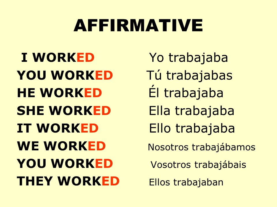 AFFIRMATIVE I WORKED Yo trabajaba YOU WORKED Tú trabajabas