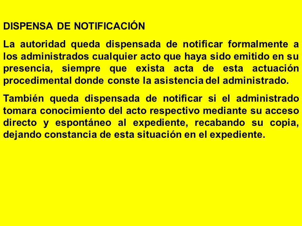 DISPENSA DE NOTIFICACIÓN