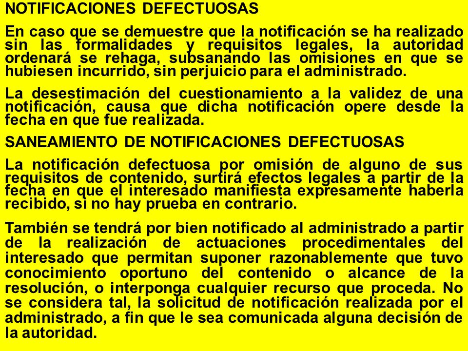 NOTIFICACIONES DEFECTUOSAS