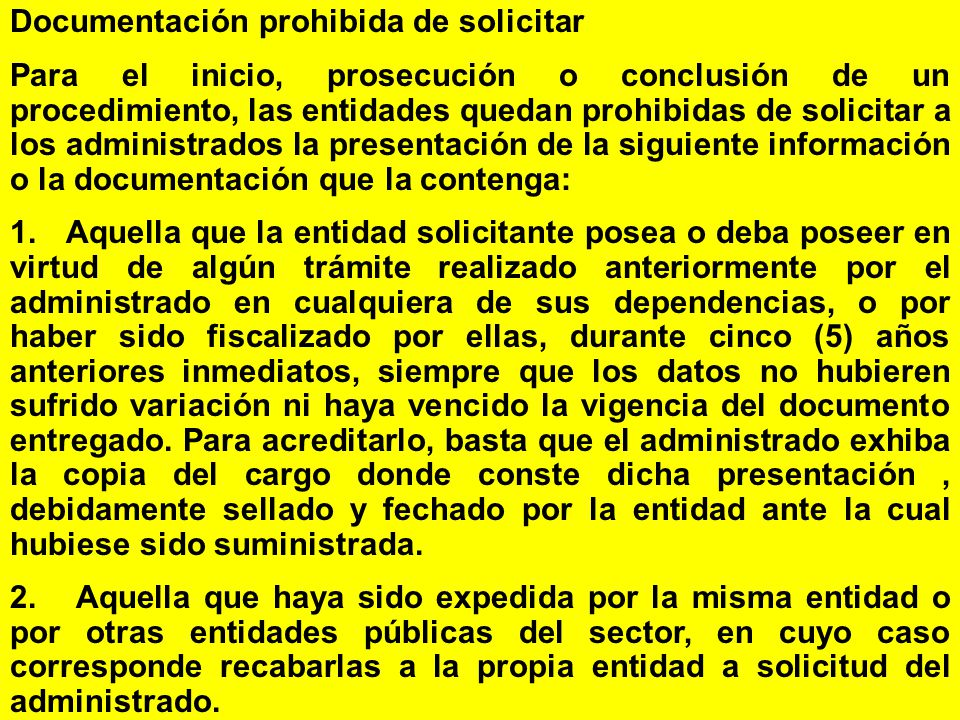 Documentación prohibida de solicitar