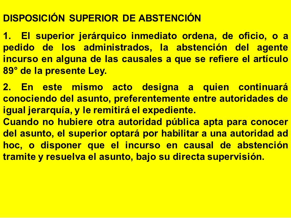 DISPOSICIÓN SUPERIOR DE ABSTENCIÓN