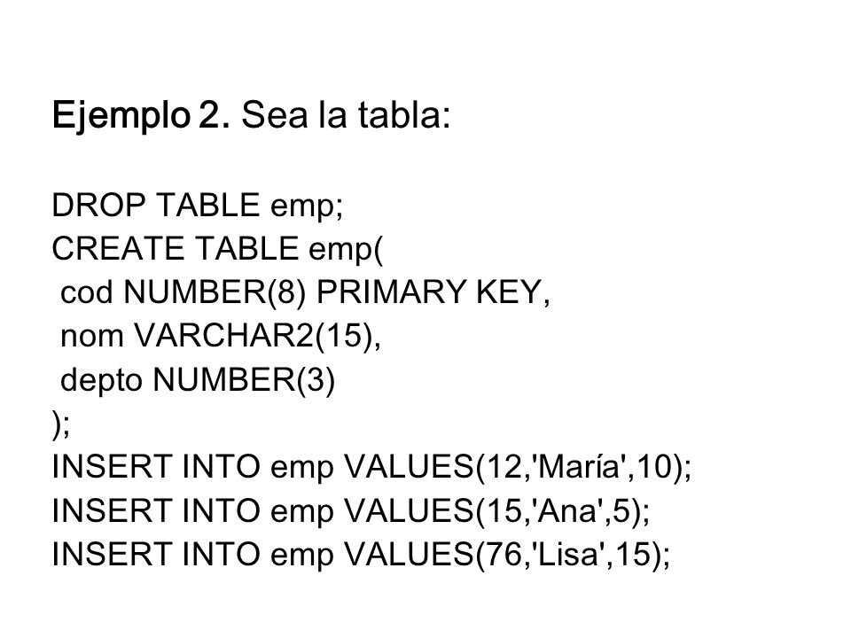 Ejemplo 2. Sea la tabla: DROP TABLE emp; CREATE TABLE emp(