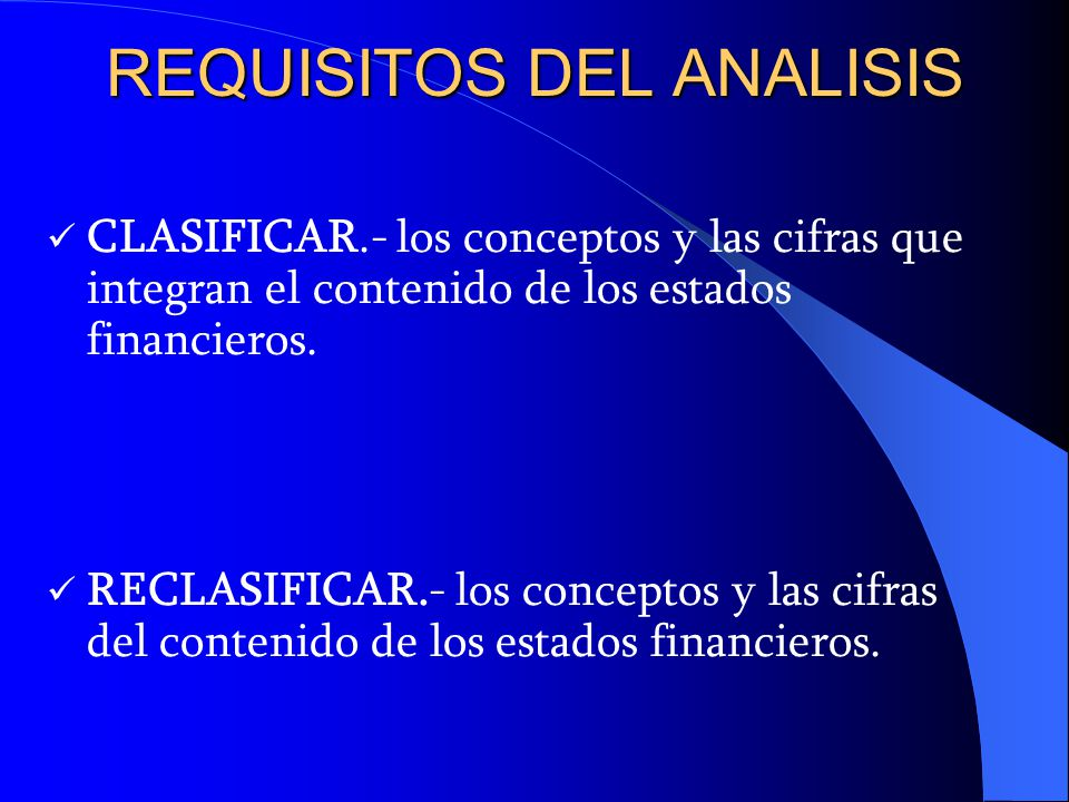 REQUISITOS DEL ANALISIS