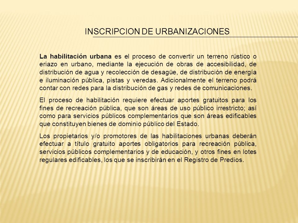 INSCRIPCION DE URBANIZACIONES