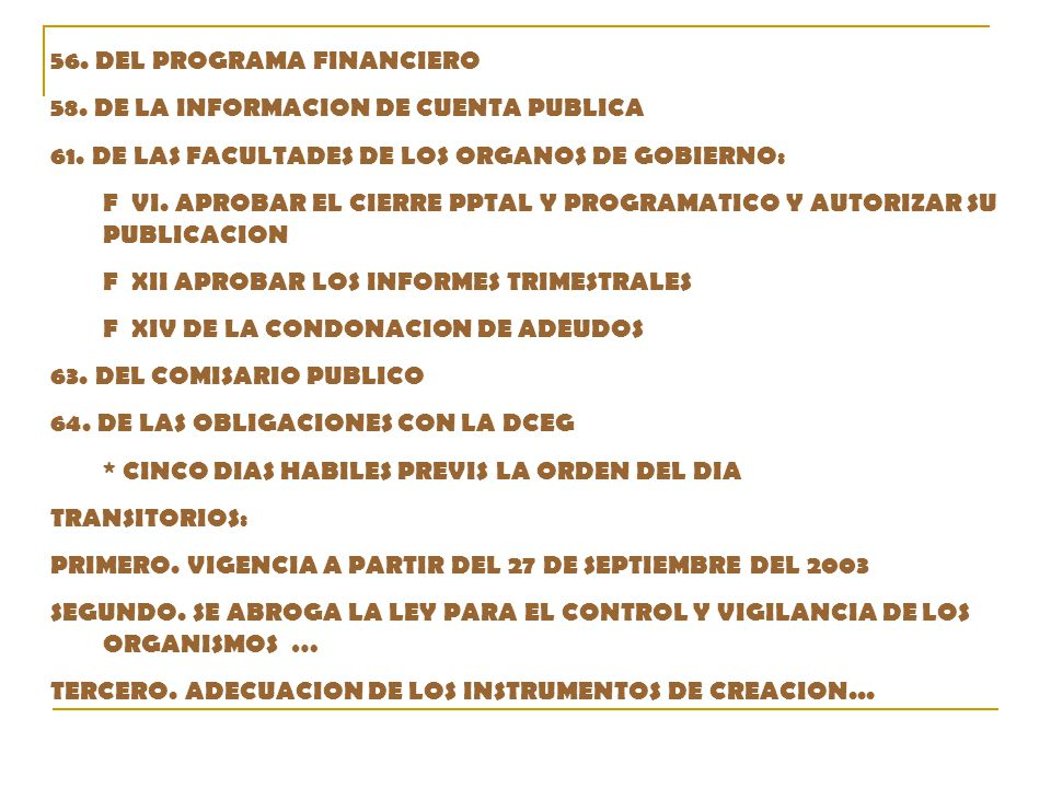 56. DEL PROGRAMA FINANCIERO