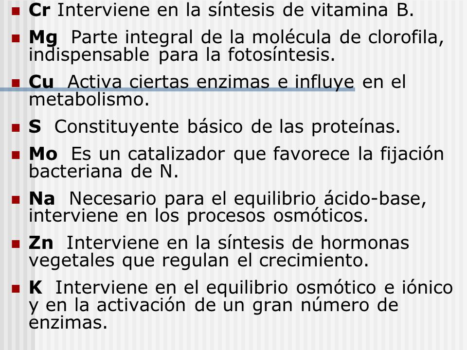 Cr Interviene en la síntesis de vitamina B.