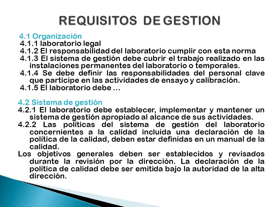 REQUISITOS DE GESTION laboratorio legal