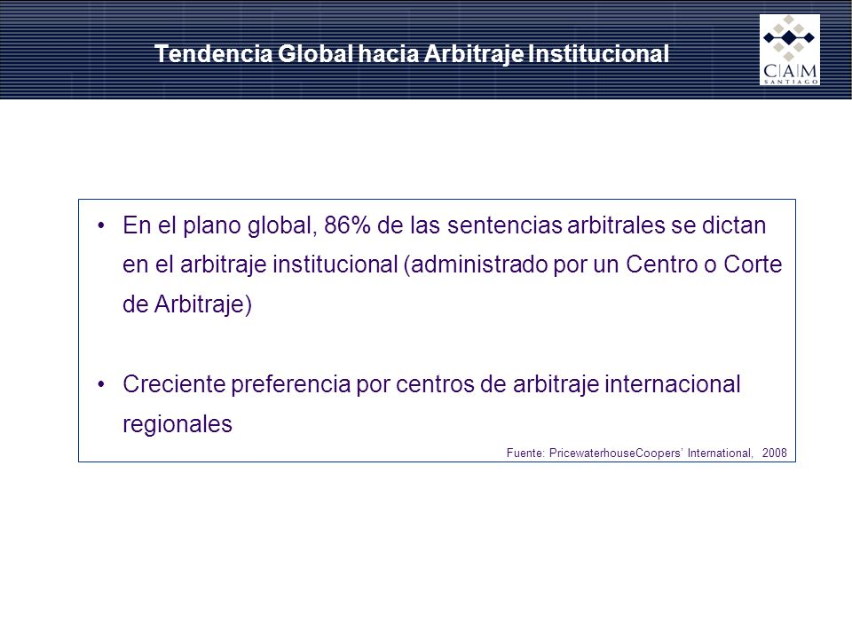 Tendencia Global hacia Arbitraje Institucional