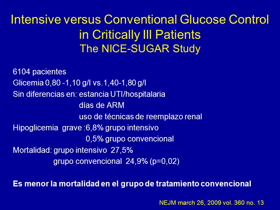 Intensive versus Conventional Glucose Control in Critically Ill Patients The NICE-SUGAR Study