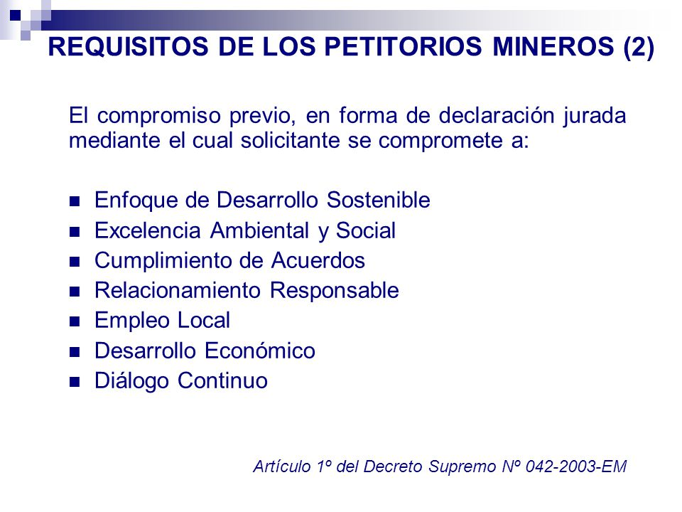 REQUISITOS DE LOS PETITORIOS MINEROS (2)