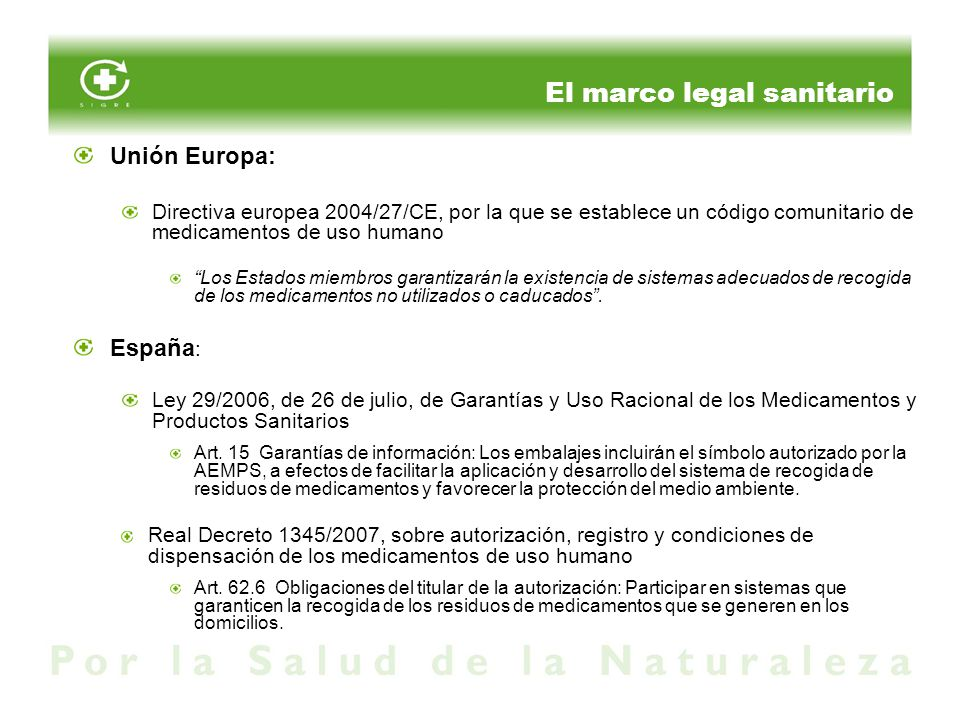 El marco legal sanitario