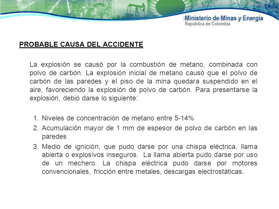 PROBABLE CAUSA DEL ACCIDENTE