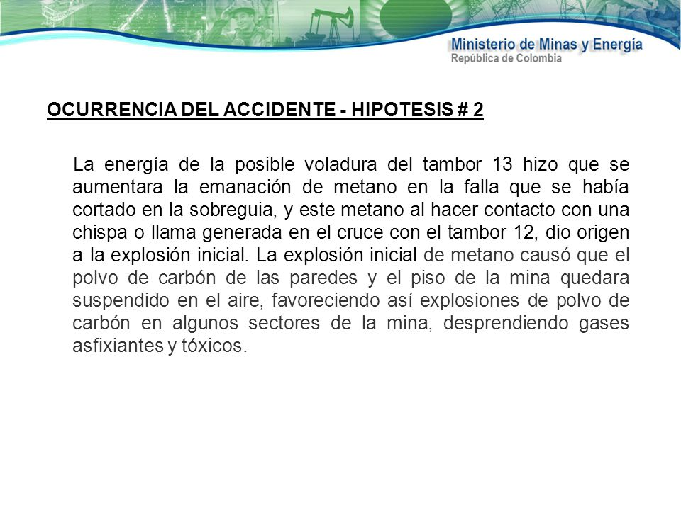 OCURRENCIA DEL ACCIDENTE - HIPOTESIS # 2