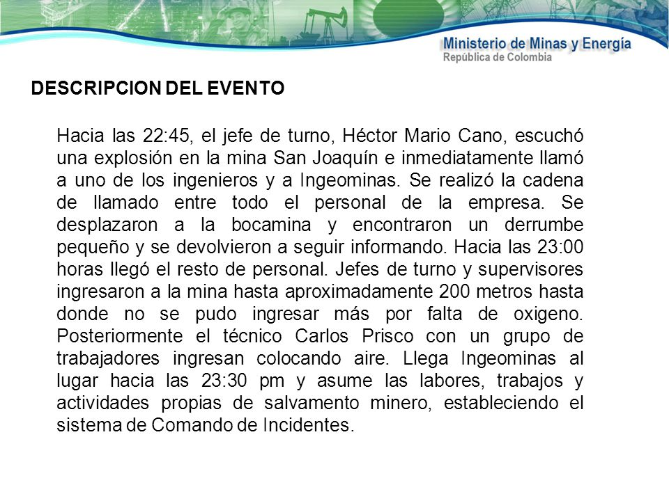 DESCRIPCION DEL EVENTO