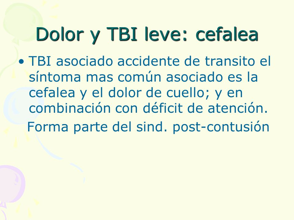 Dolor y TBI leve: cefalea