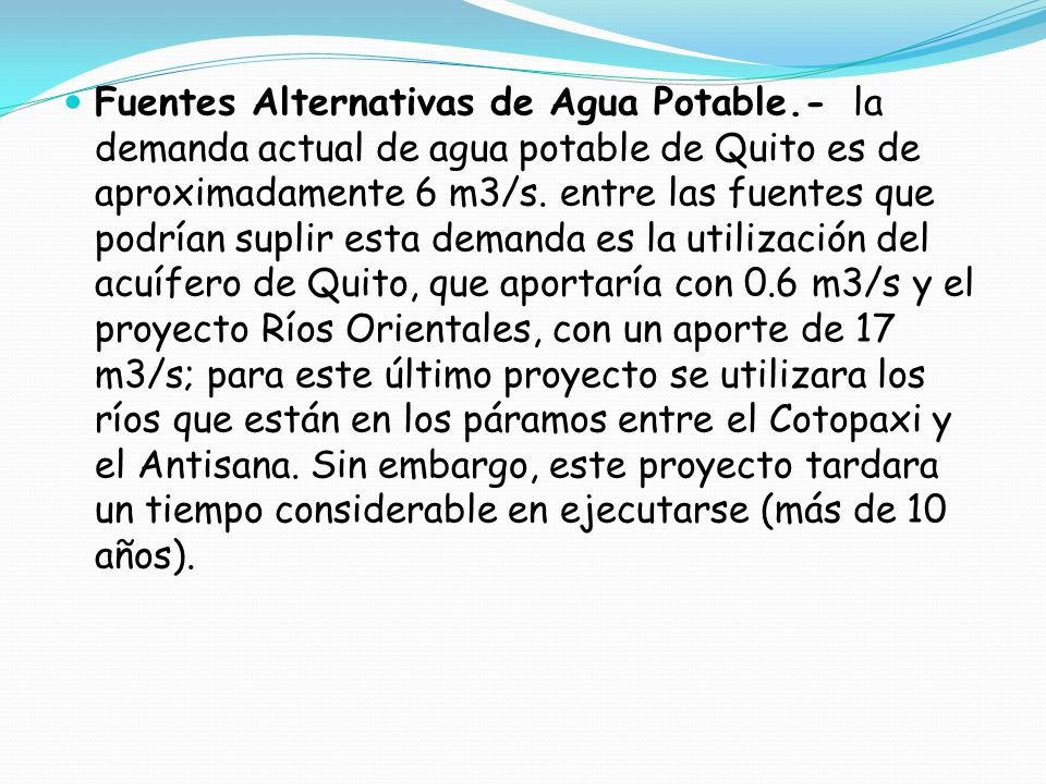 Fuentes Alternativas de Agua Potable