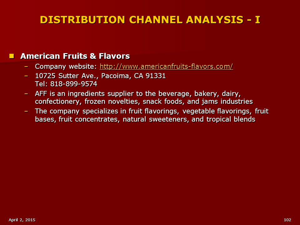 DISTRIBUTION CHANNEL ANALYSIS - I