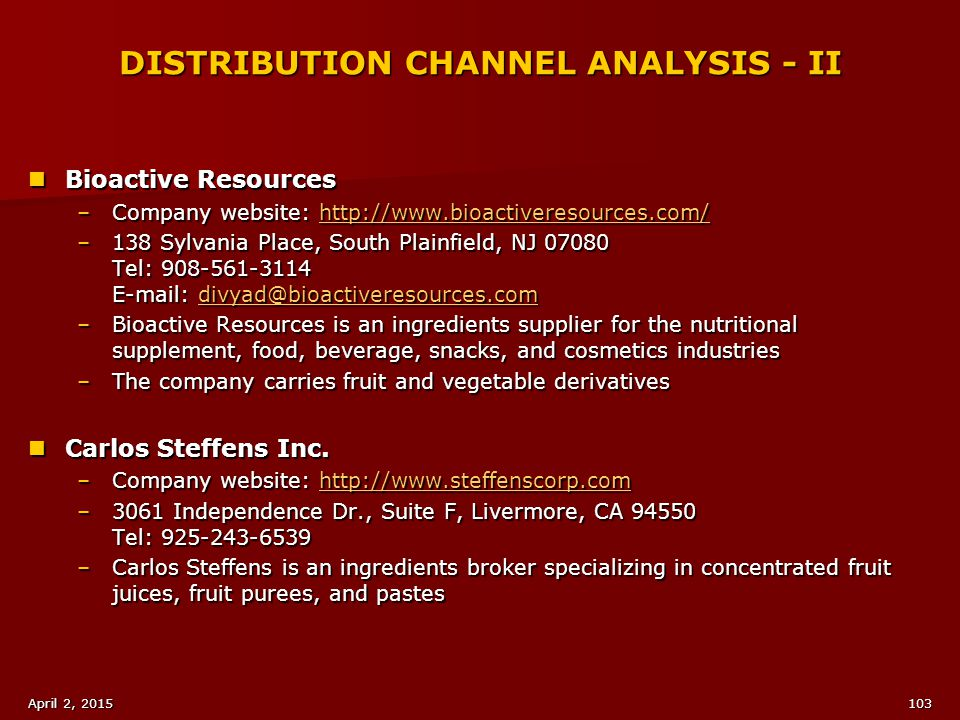 DISTRIBUTION CHANNEL ANALYSIS - II
