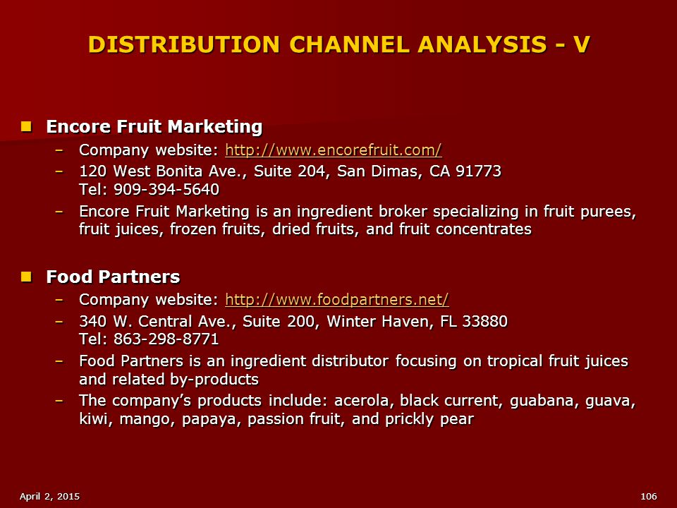 DISTRIBUTION CHANNEL ANALYSIS - V
