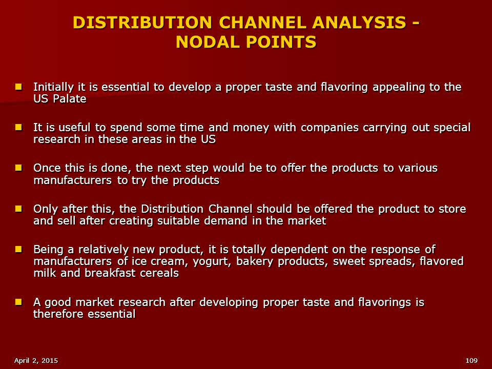 DISTRIBUTION CHANNEL ANALYSIS - NODAL POINTS