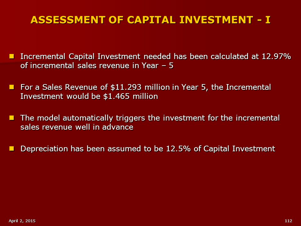 ASSESSMENT OF CAPITAL INVESTMENT - I