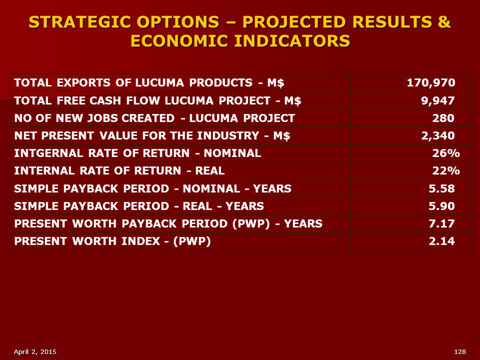 STRATEGIC OPTIONS – PROJECTED RESULTS & ECONOMIC INDICATORS