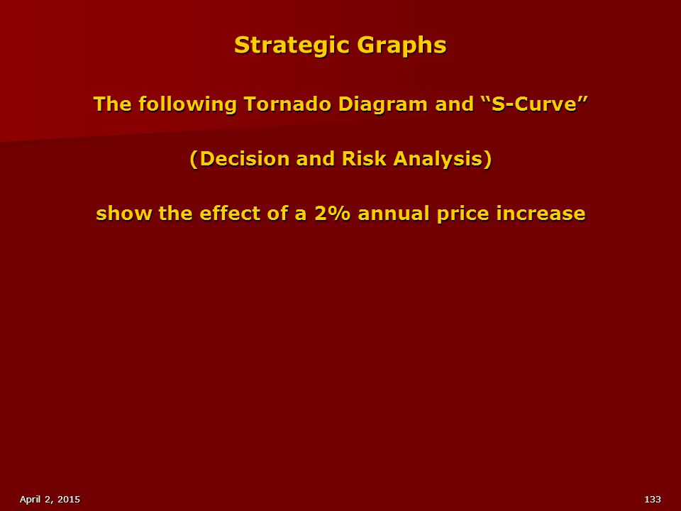 Strategic Graphs The following Tornado Diagram and S-Curve