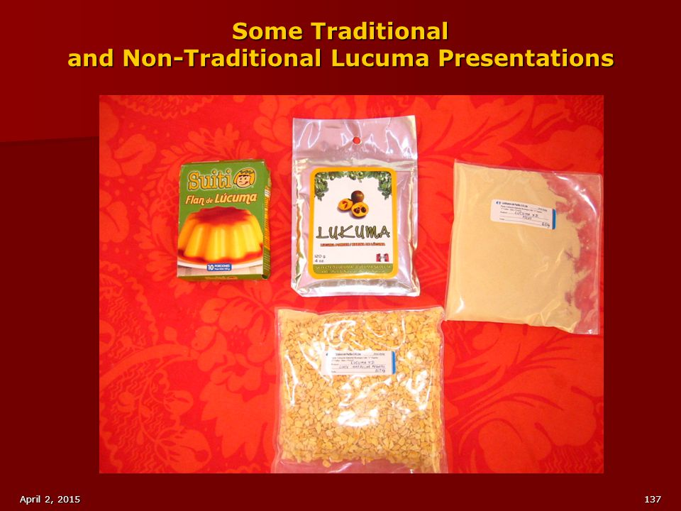 Some Traditional and Non-Traditional Lucuma Presentations