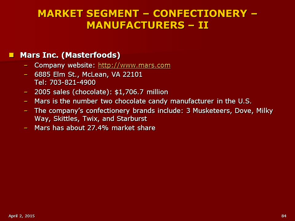 MARKET SEGMENT – CONFECTIONERY – MANUFACTURERS – II