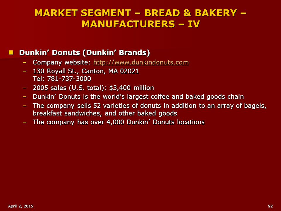 MARKET SEGMENT – BREAD & BAKERY – MANUFACTURERS – IV