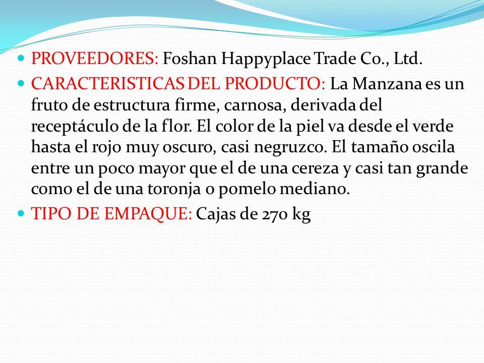 PROVEEDORES: Foshan Happyplace Trade Co., Ltd.