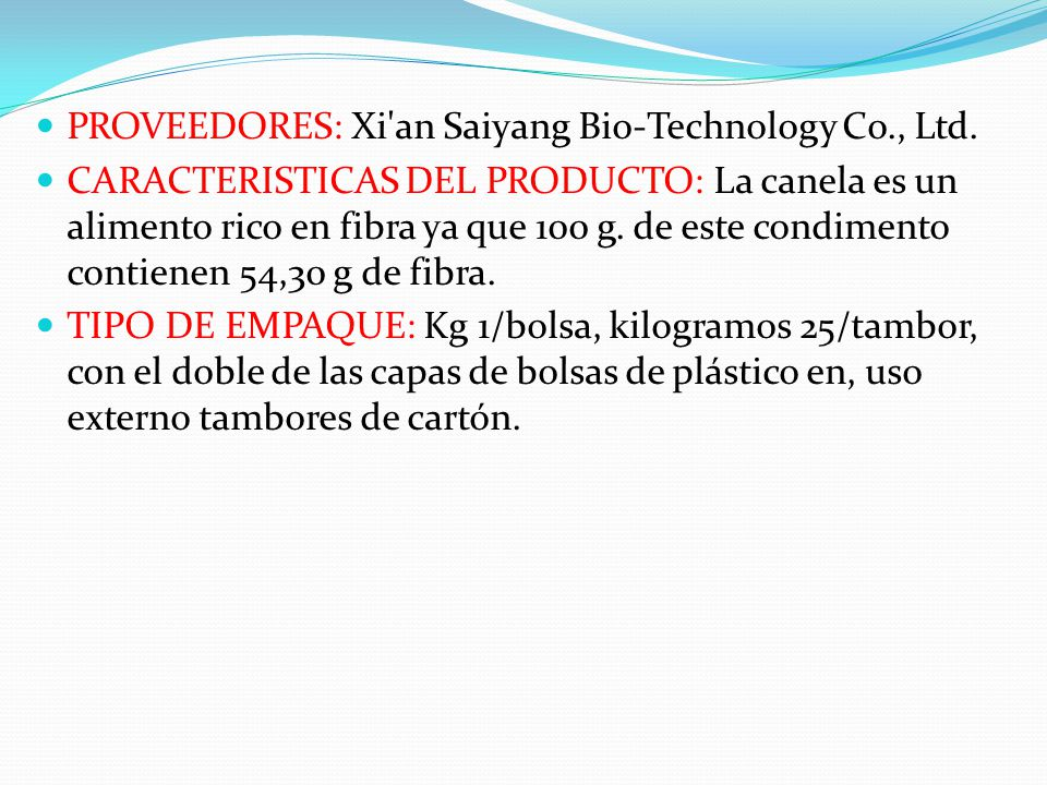 PROVEEDORES: Xi an Saiyang Bio-Technology Co., Ltd.