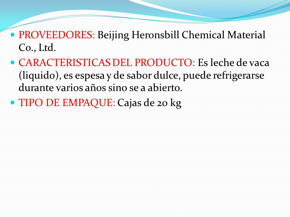 PROVEEDORES: Beijing Heronsbill Chemical Material Co., Ltd.