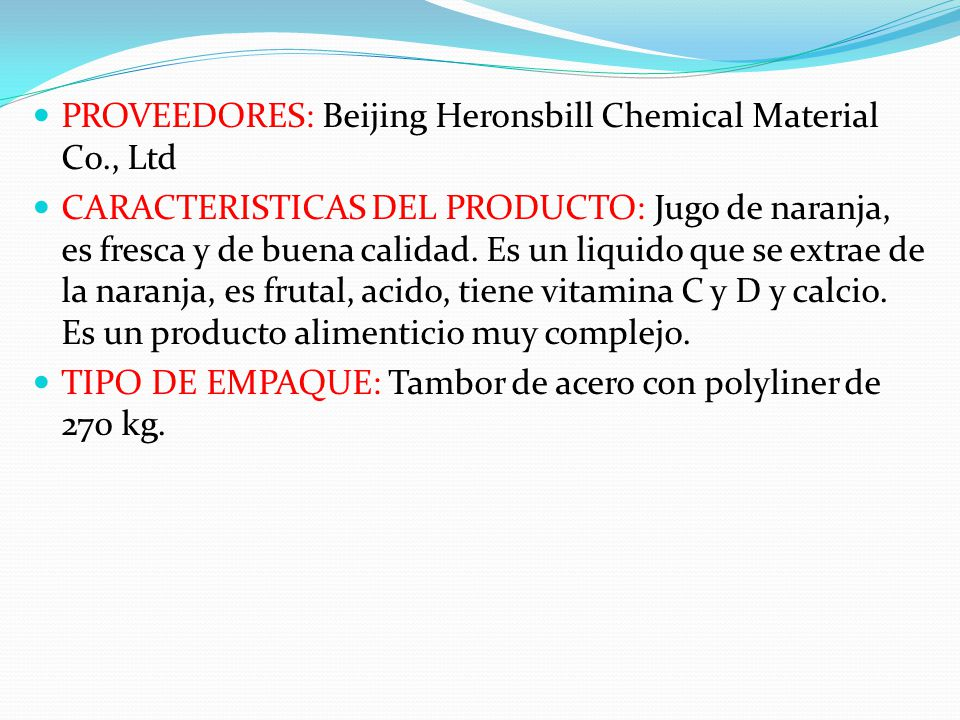 PROVEEDORES: Beijing Heronsbill Chemical Material Co., Ltd
