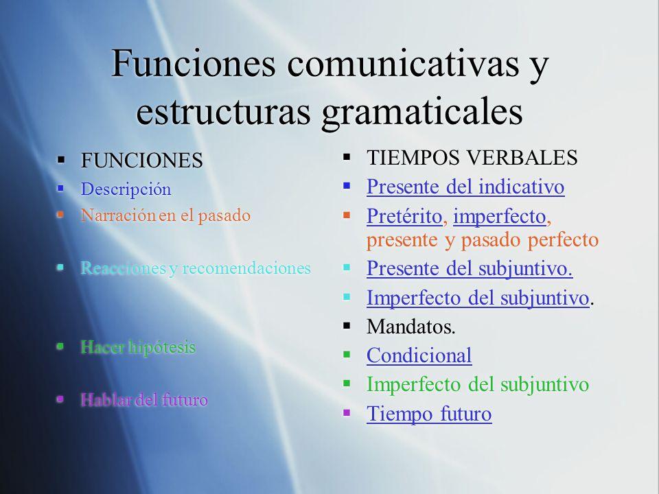 Funciones Comunicativas Y Estructuras Gramaticales Ppt