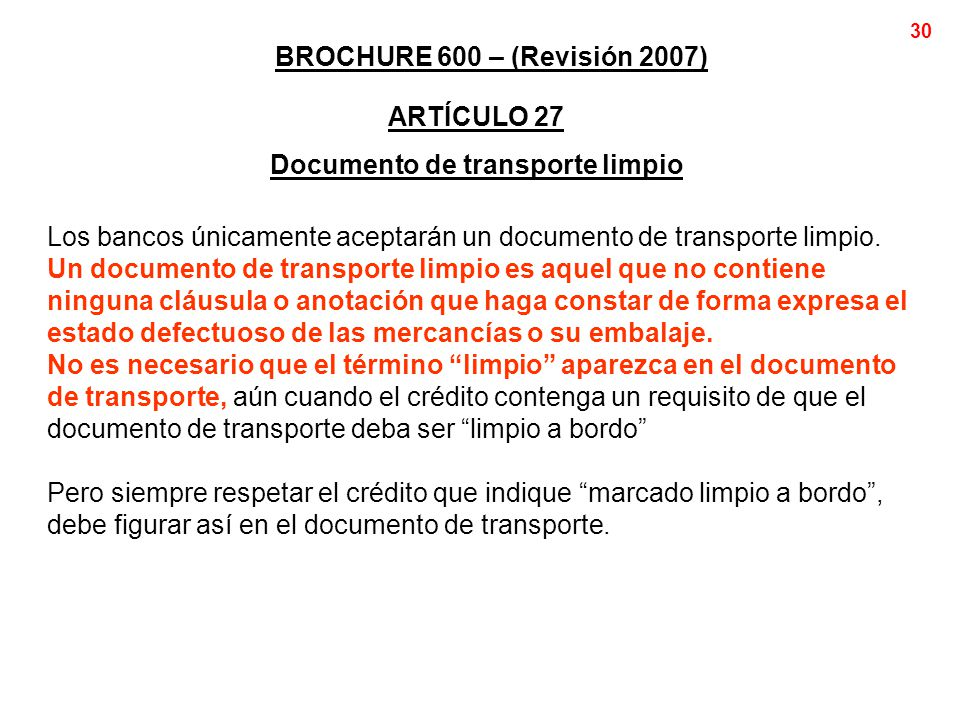 Documento de transporte limpio
