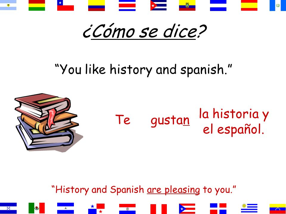 ¿Cómo se dice You like history and spanish.